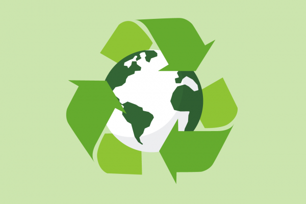 Green and white globe with three recycle green arrows on green background