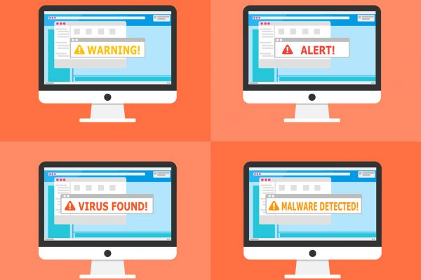 4 cartoon images of laptop screens with virus error messages, on orange background